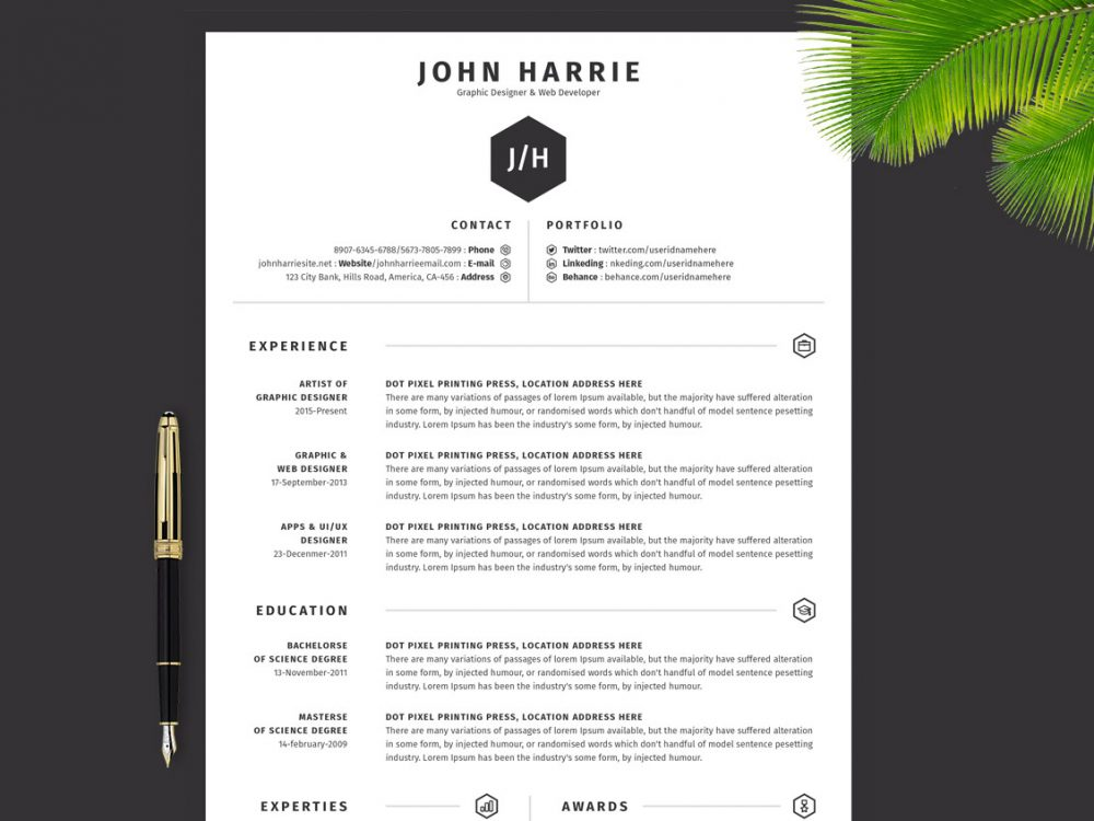 simple resume template download in word psd ai formats