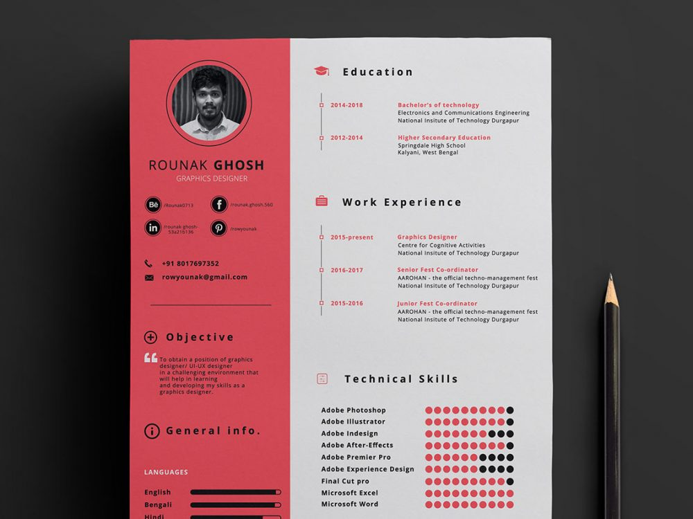 Single Page Free Resume Template in PSD Format - ResumeKraft