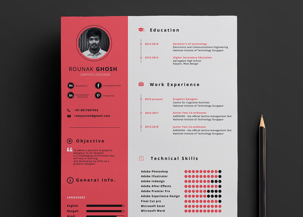 single page free resume template in psd format