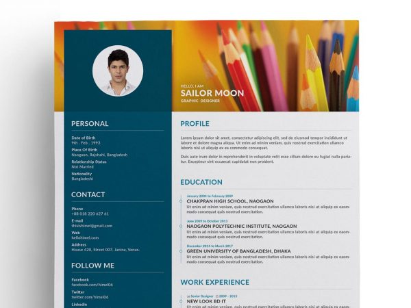 Trendy Resume PSD Template Free