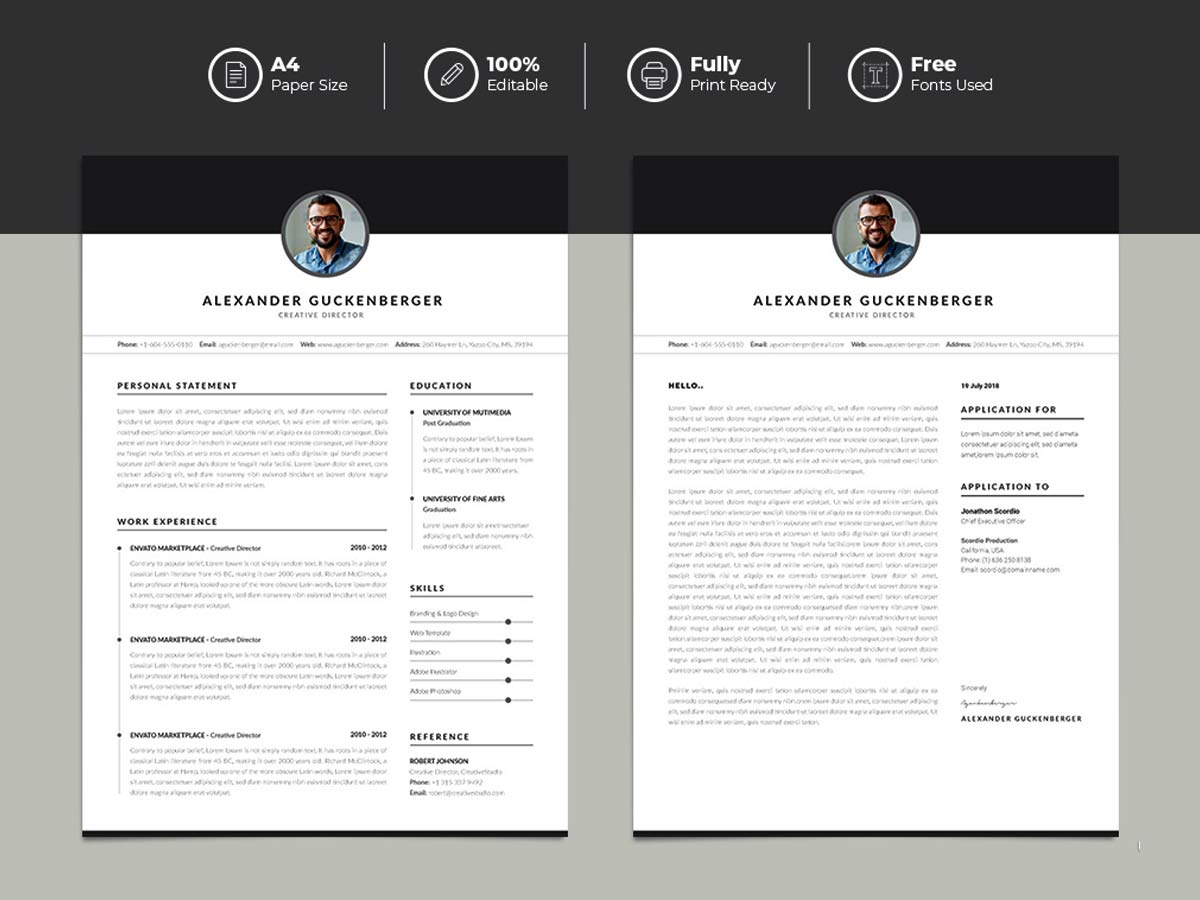 clean and minimal free resume template