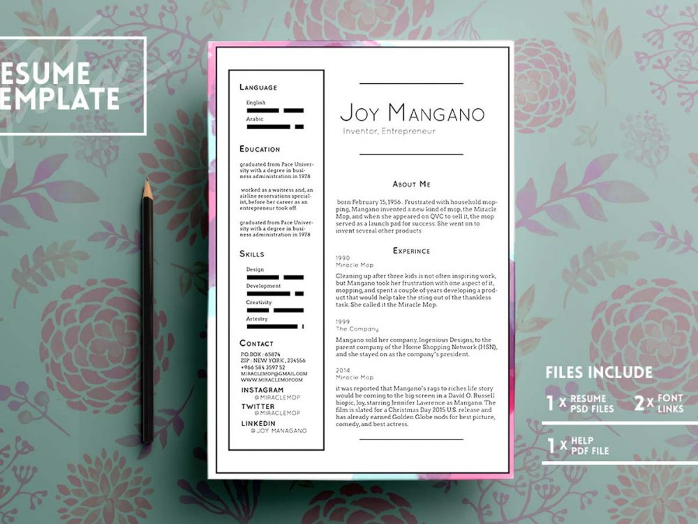 Free PSD Resume Template