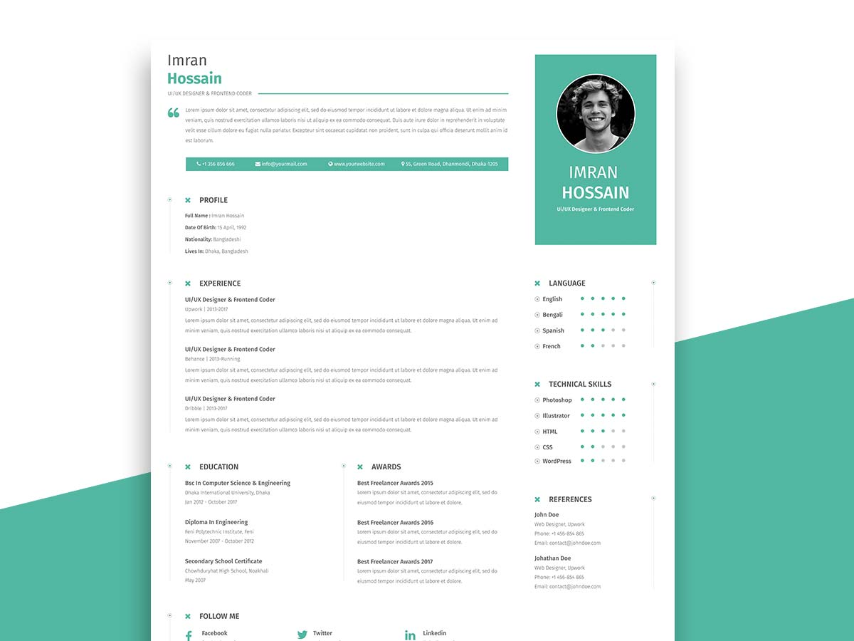 free professional resume with business card