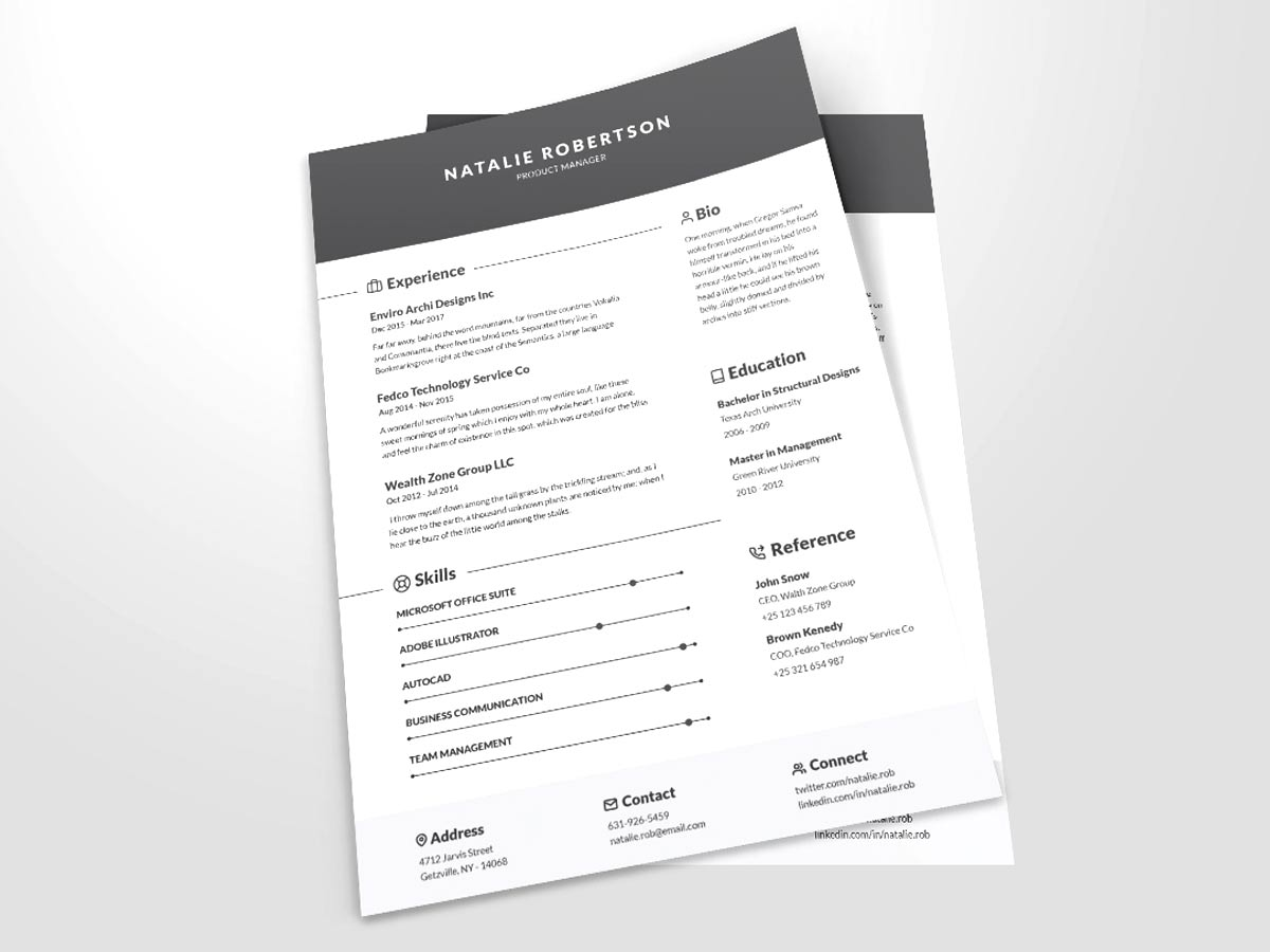 clean cv template word free download