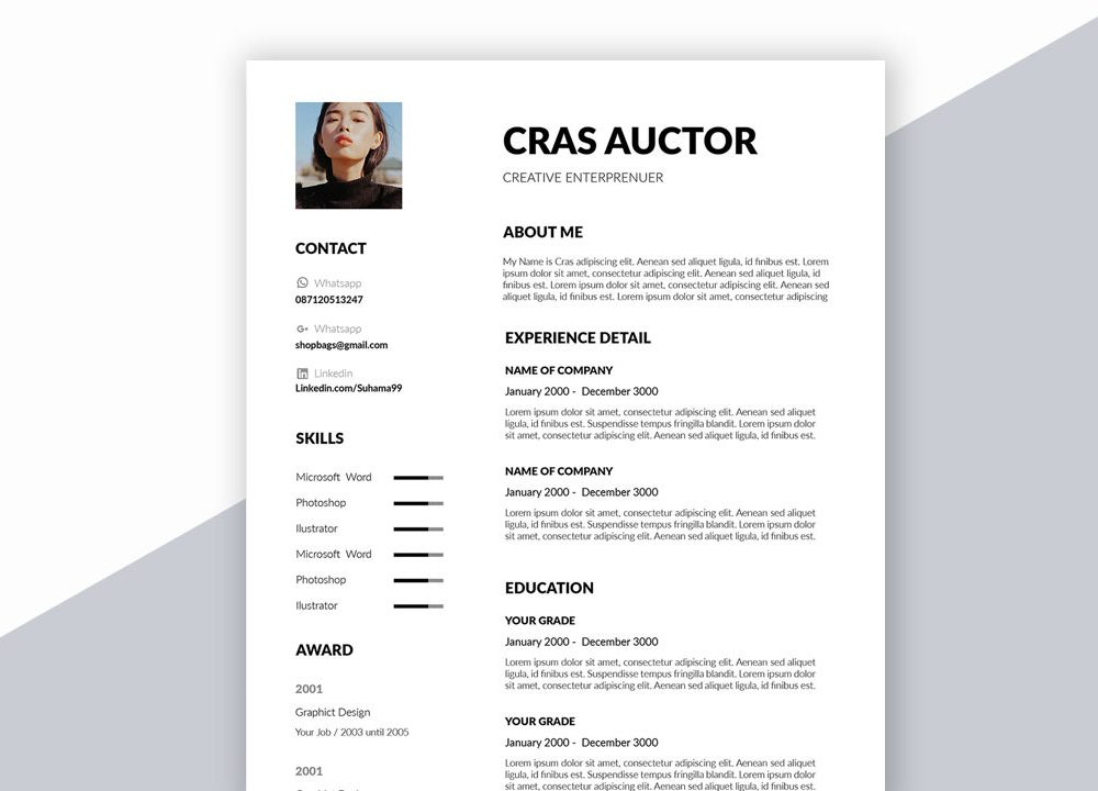 Creative Free Resume Template In Word Format Download Resumekraft