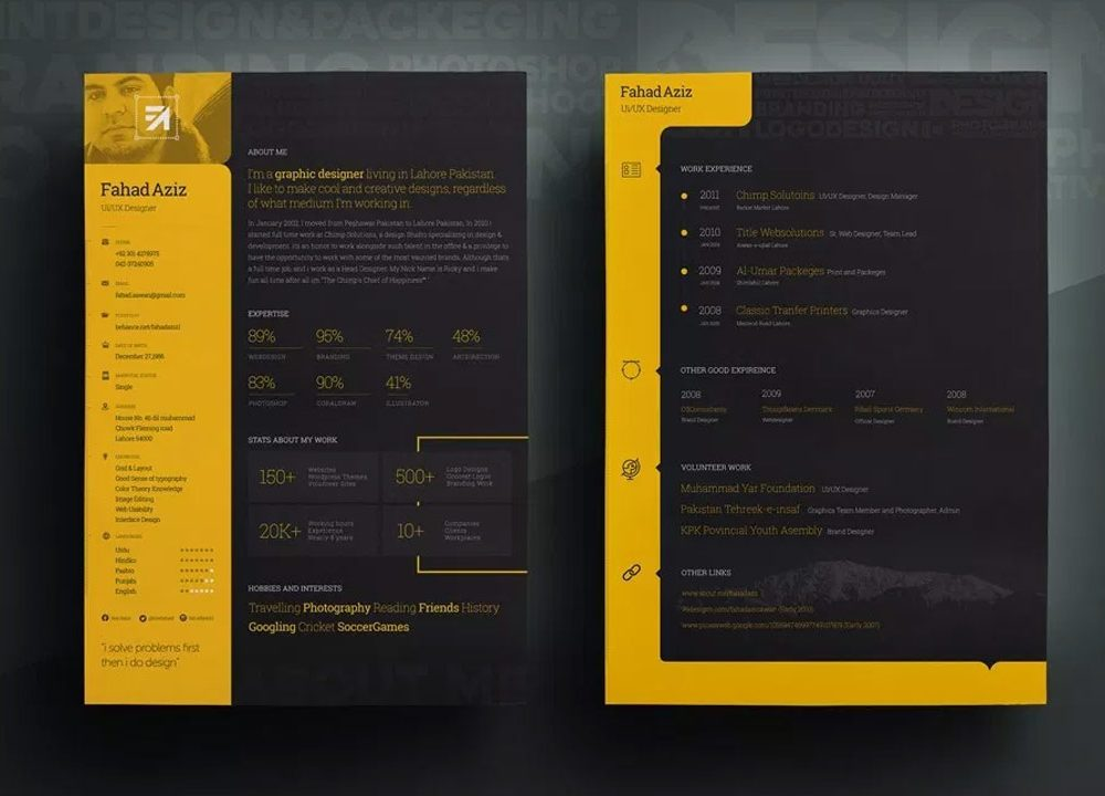Dark Background Free Resume Template Resumekraft