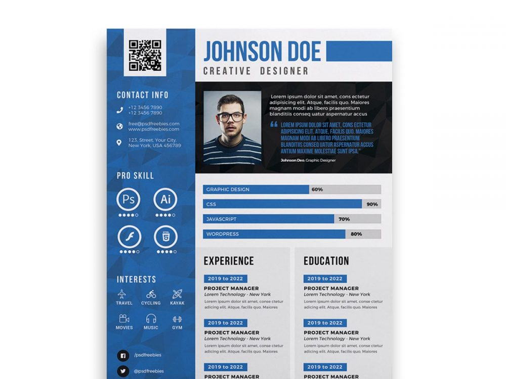 Free Cv Design Template Psd Resume Resumekraft