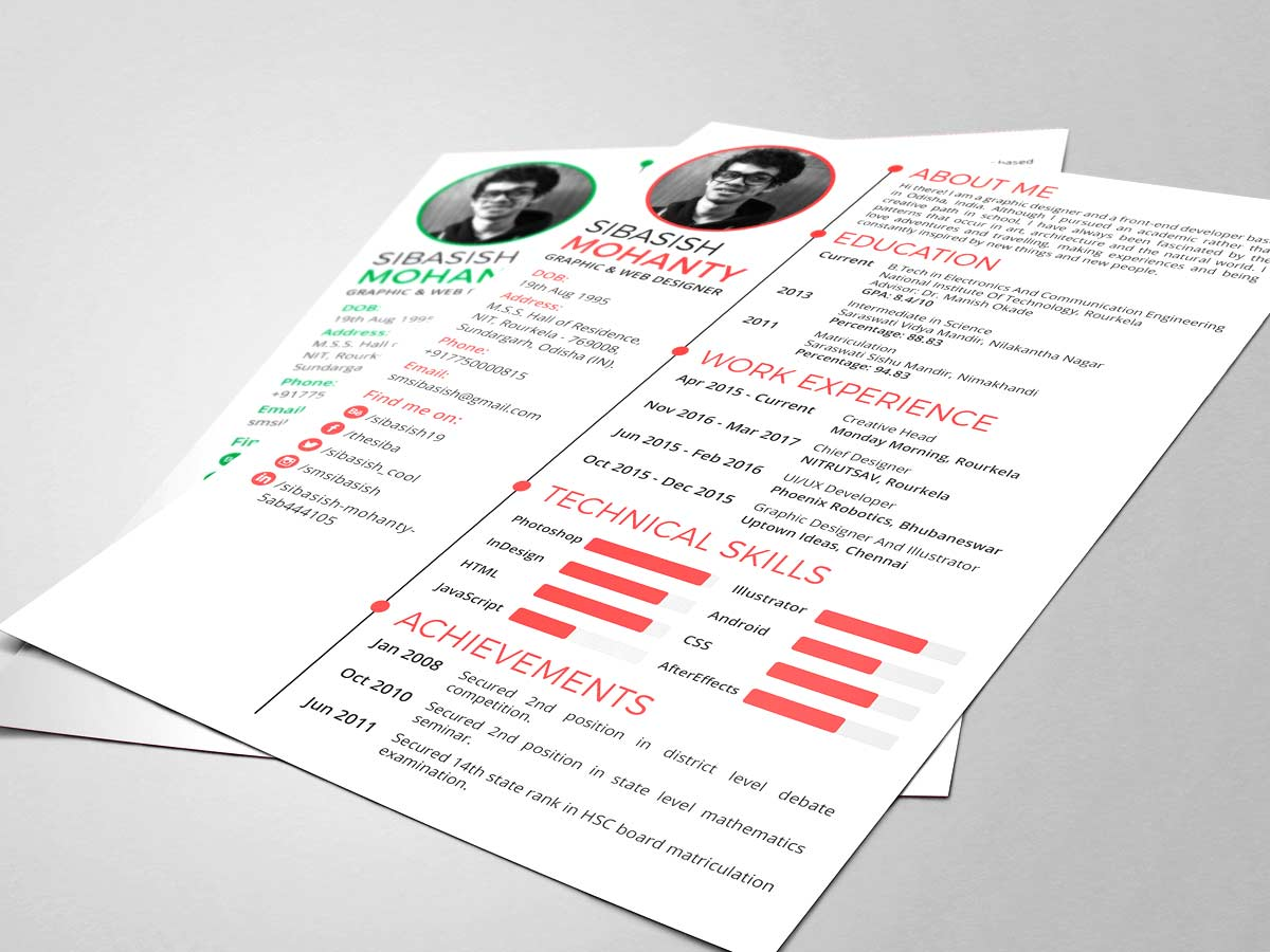 simple photoshop resume template free download