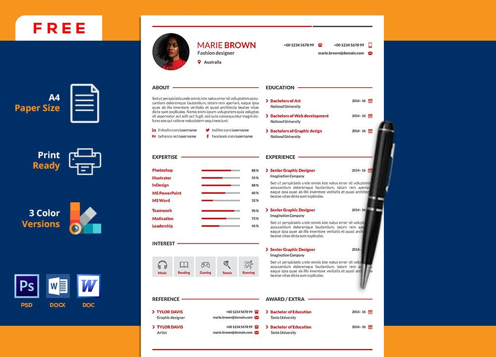 Free Portfolio Cv Resume Template In Word Resumekraft