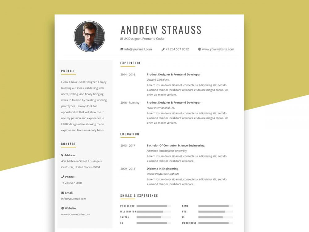 Free Simple Resume Template in PSD format - ResumeKraft