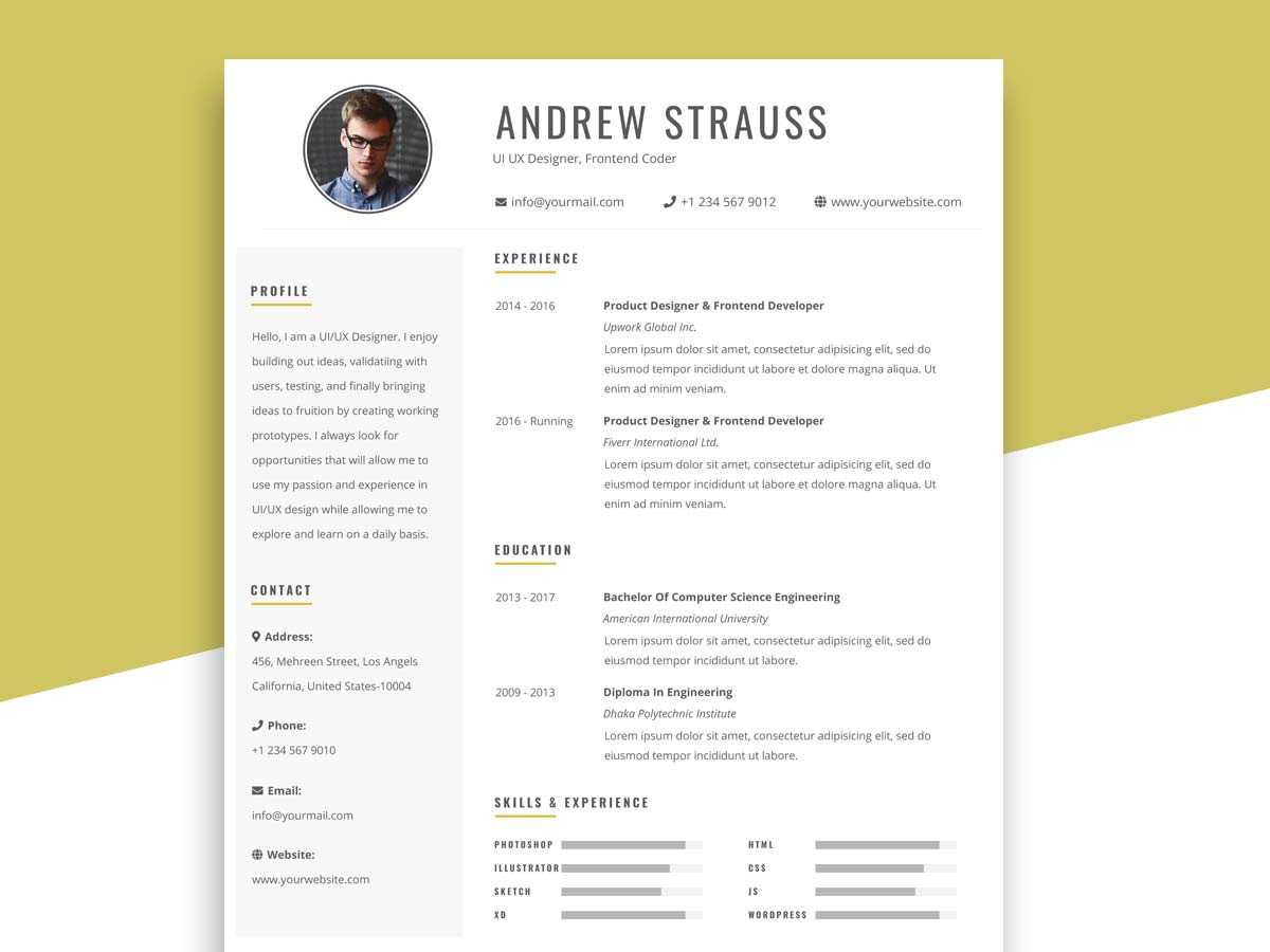 free simple resume template in psd format