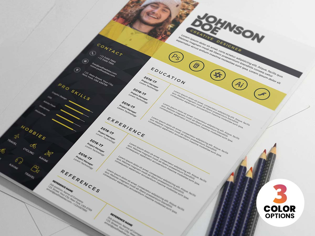 professional psd resume template free