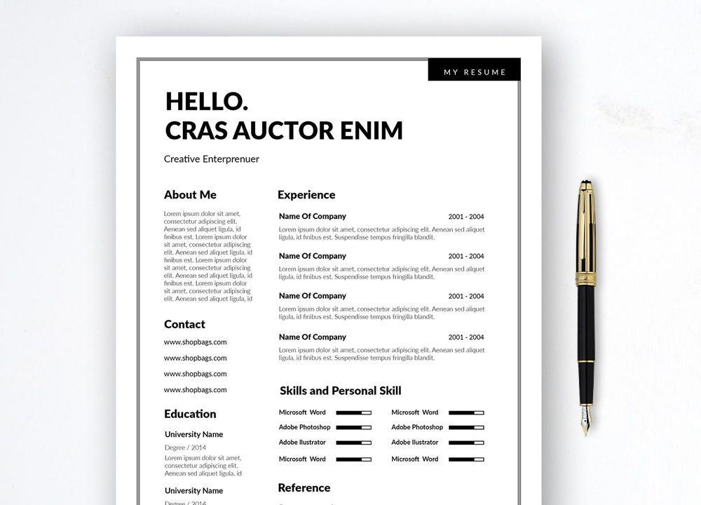 simple 2 column free resume template in word