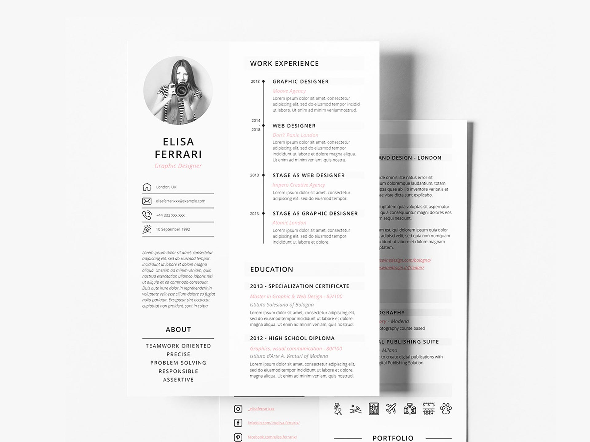 Free Two Pages Resume Template Resumekraft
