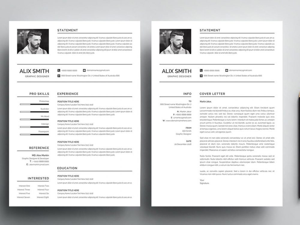 Simple Resume Template Free Download Word PSD