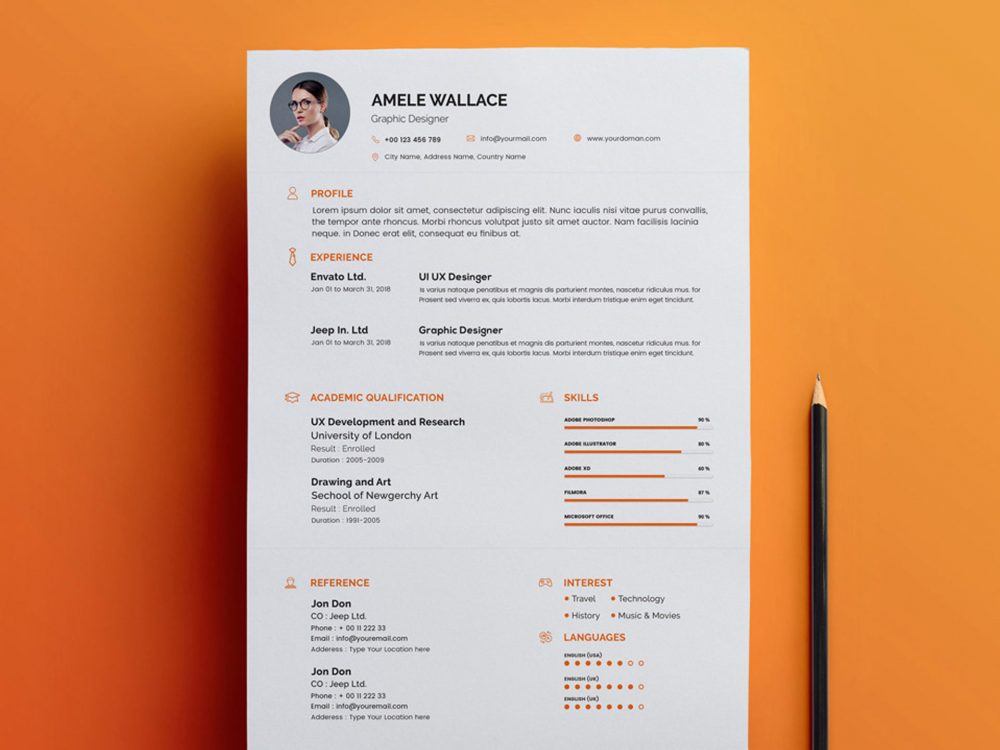 PSD Resume Template Free