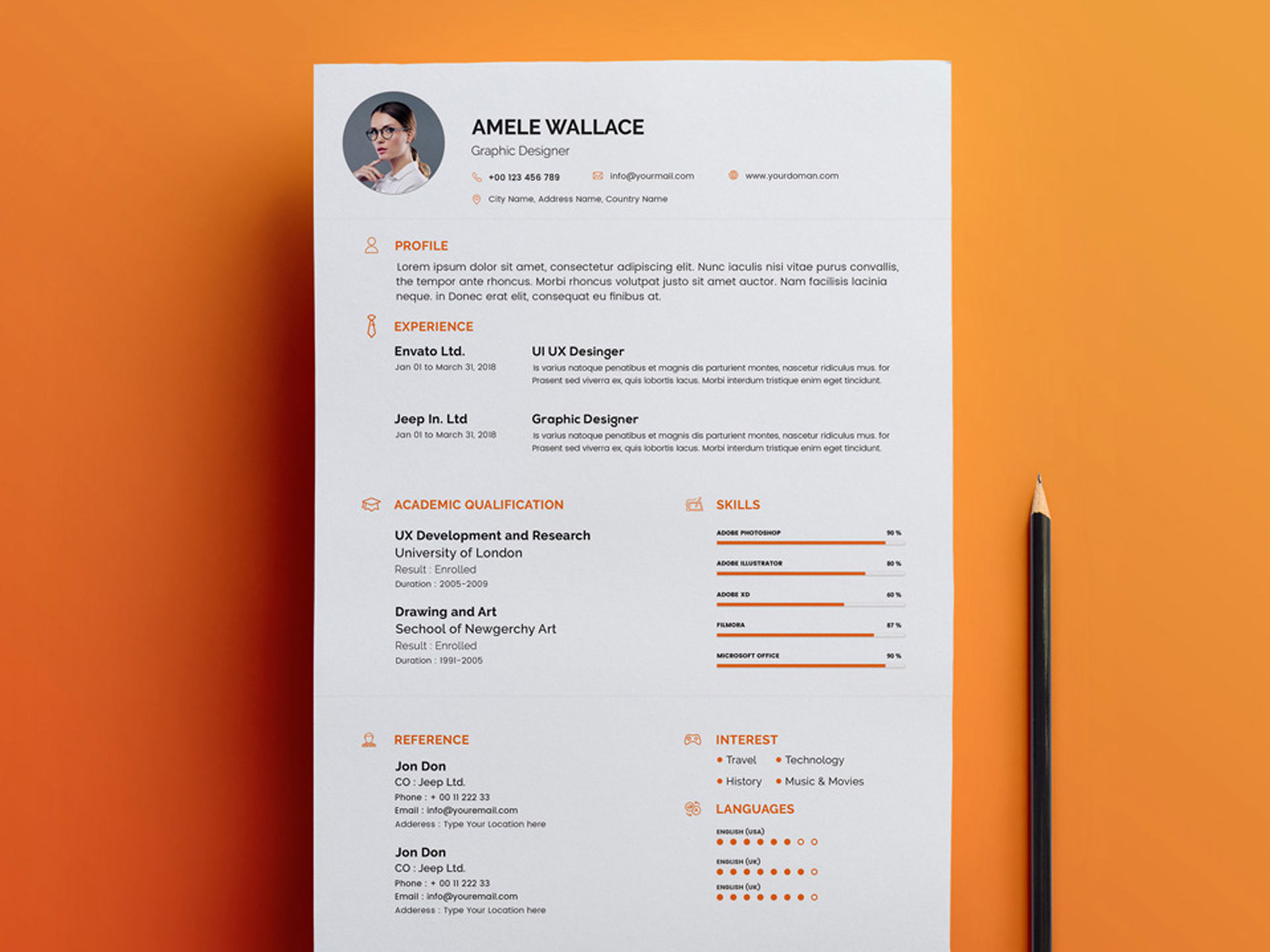 psd resume template free download