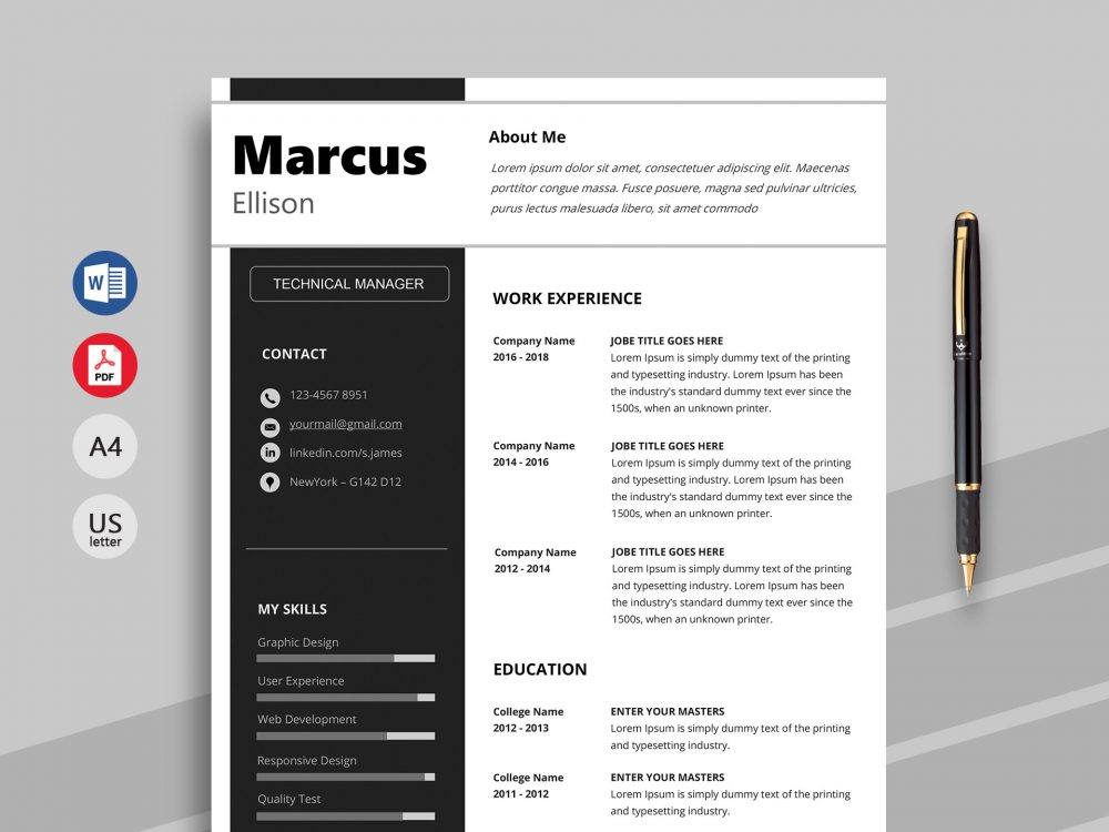 Bold - Premium Word Resume Template - ResumeKraft