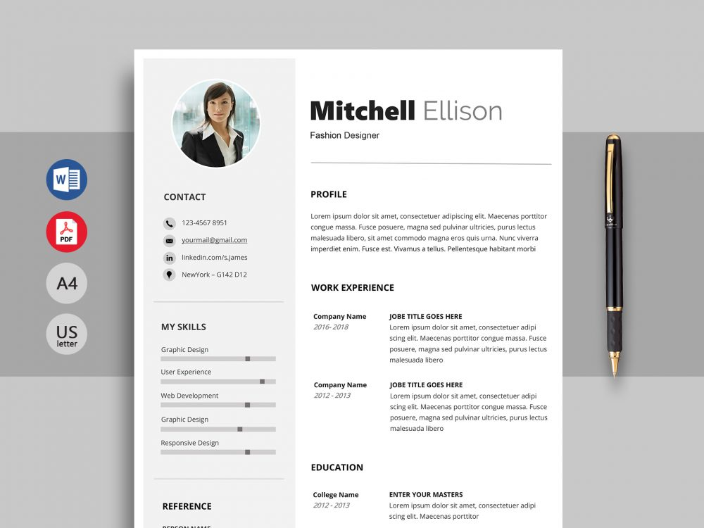 Excel Professional Resume Template Word Resumekraft