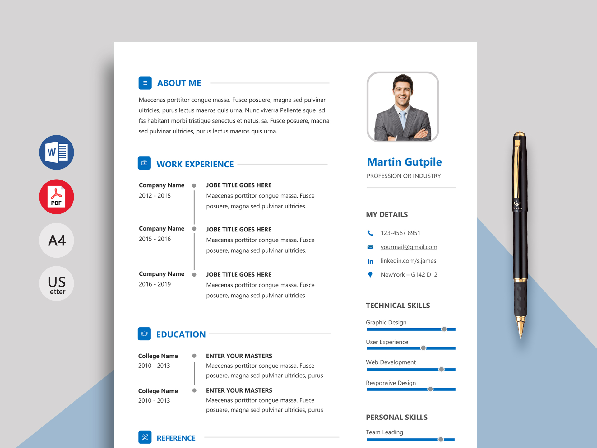 express professional resume template  docx
