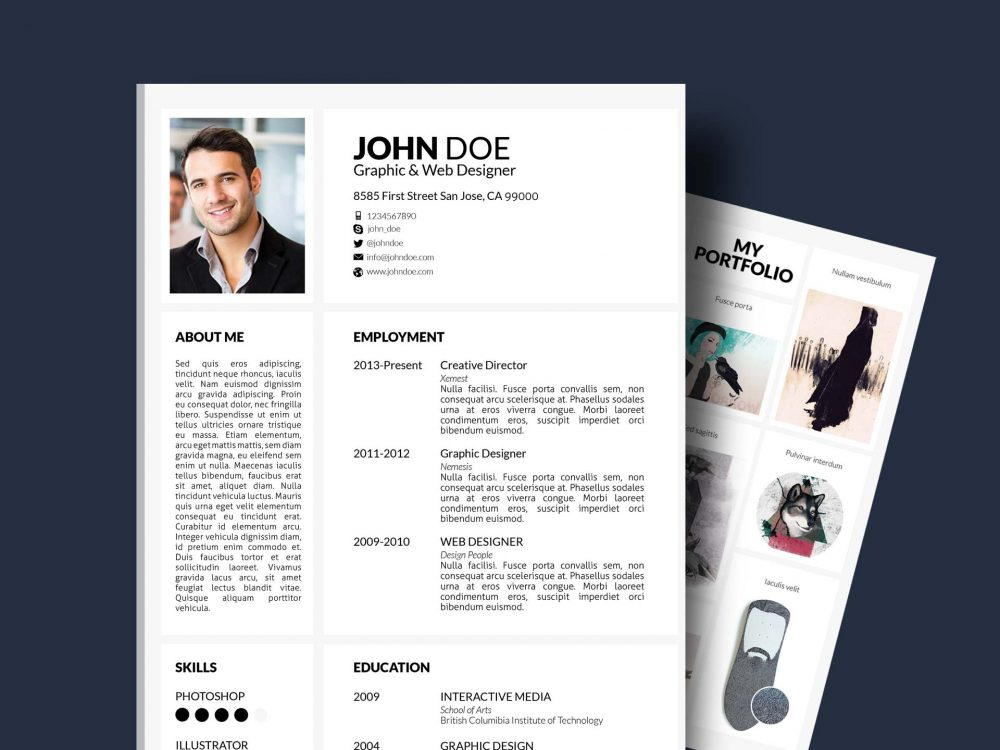 resume template with portfolio