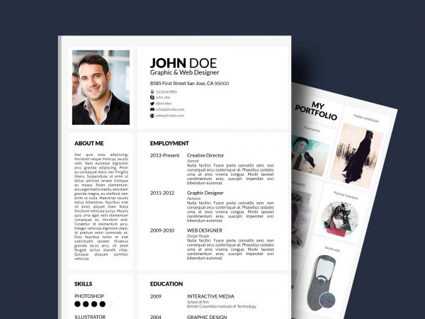 resume template with portfolio