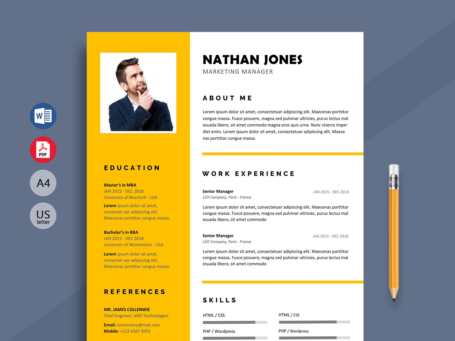 shout - modern resume template word format