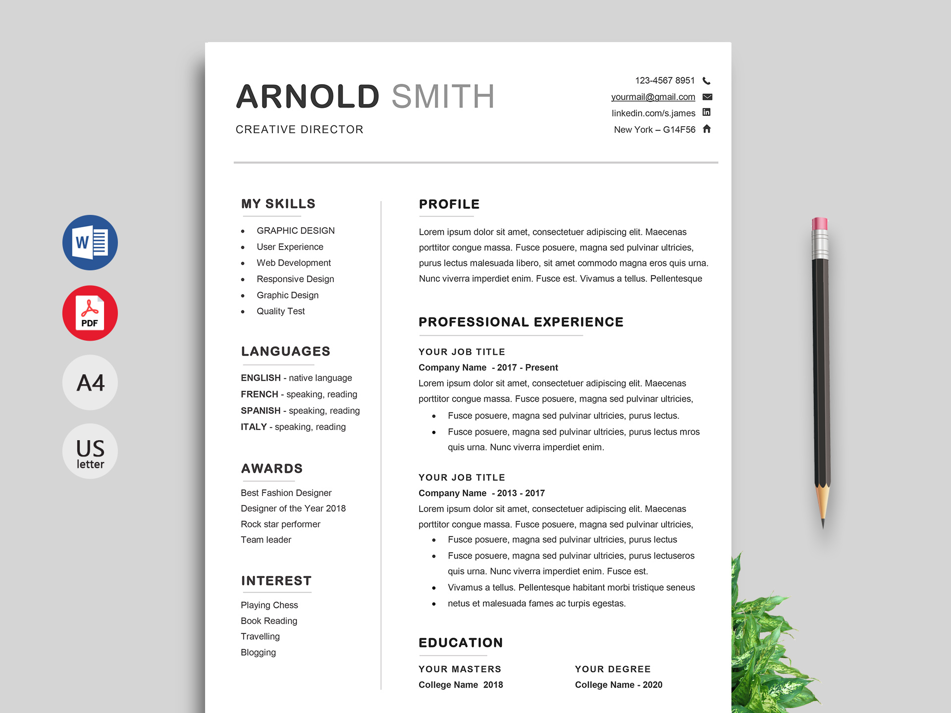 Ace Classic CV Template Word - ResumeKraft
