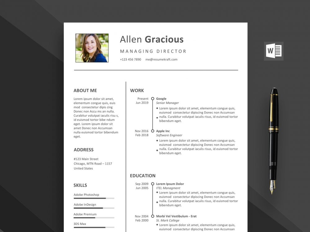Ace Word Resume Template Free Download - ResumeKraft