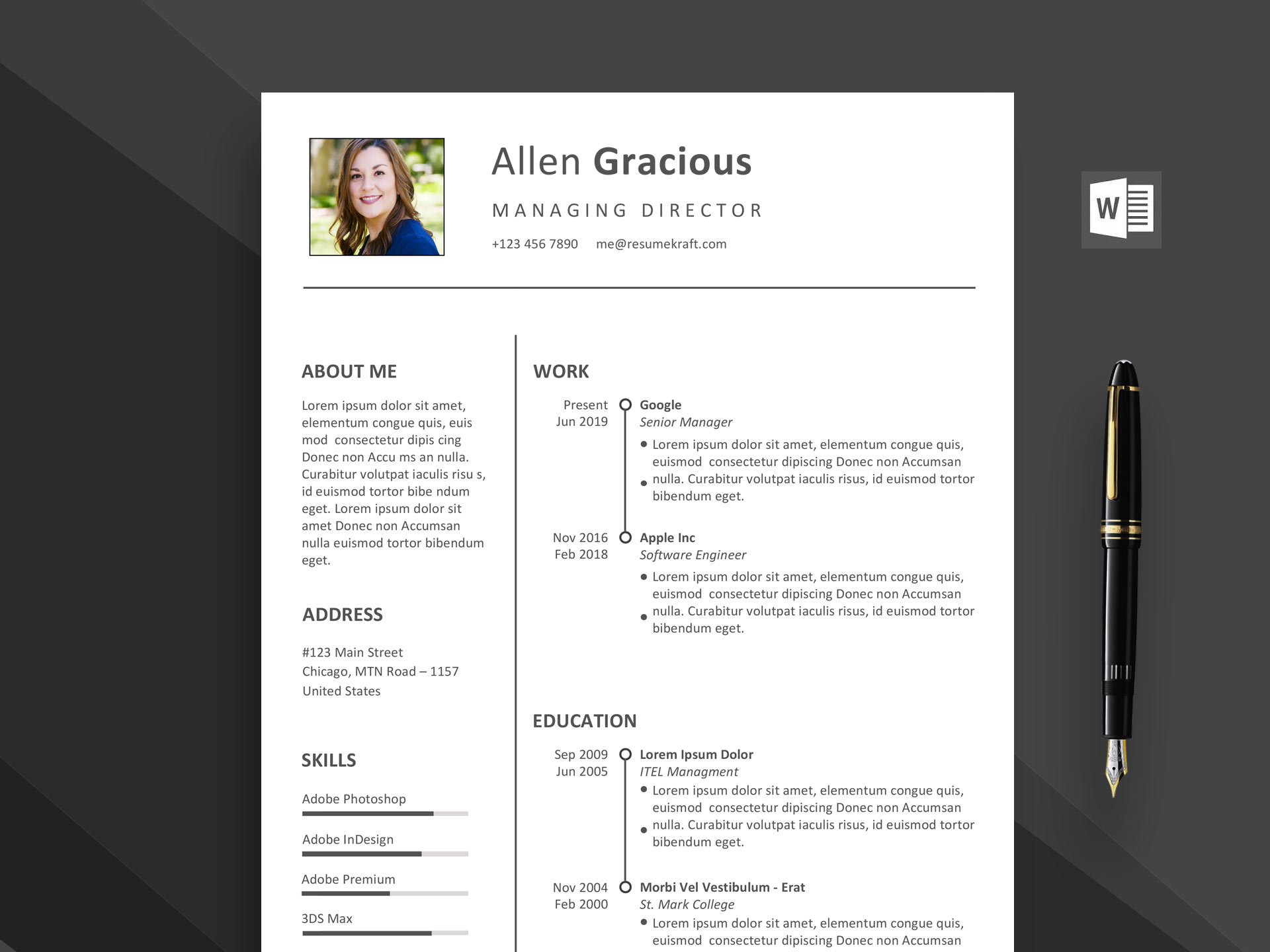 Ace Word Resume Template Free Download Resumekraft