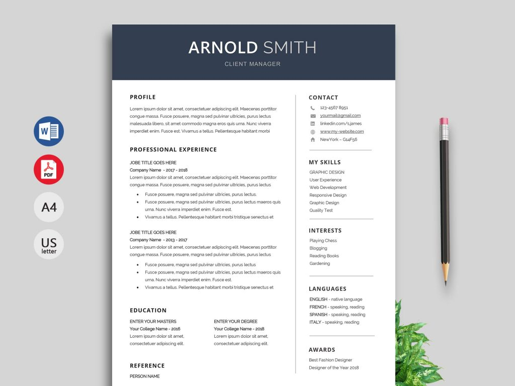 anchor resume template word format