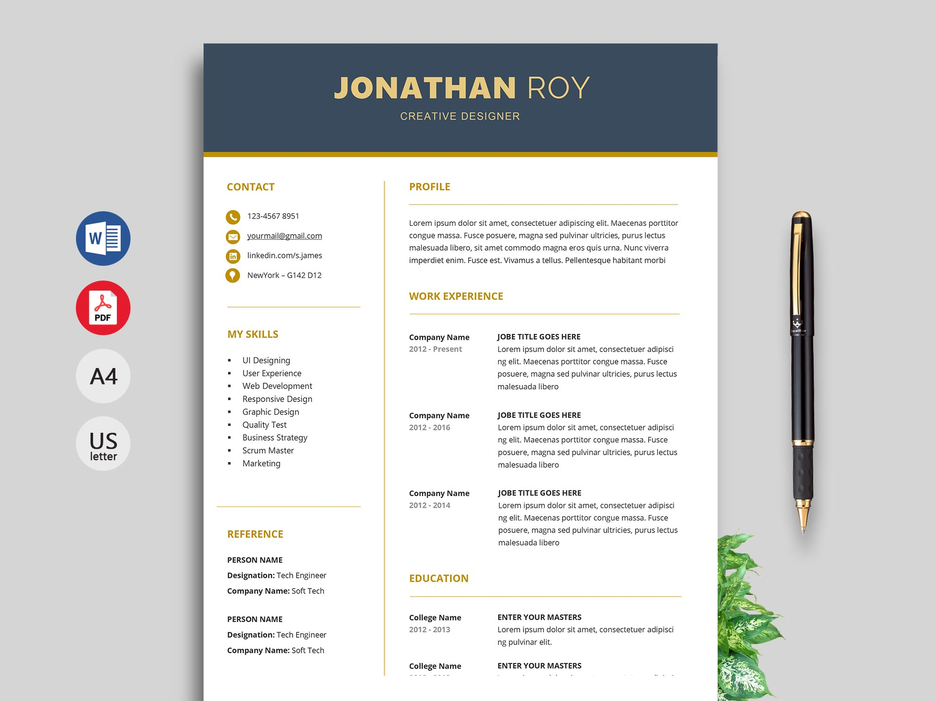 gain professional resume template