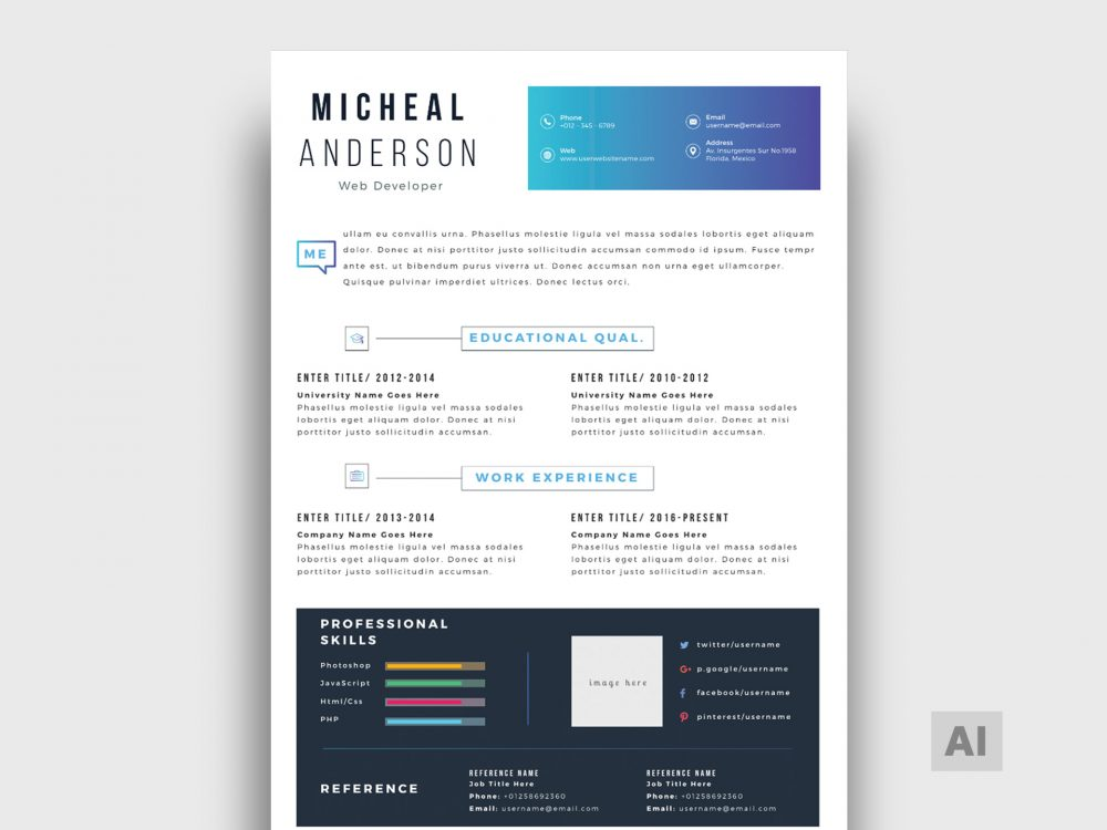 illustrator resume template free