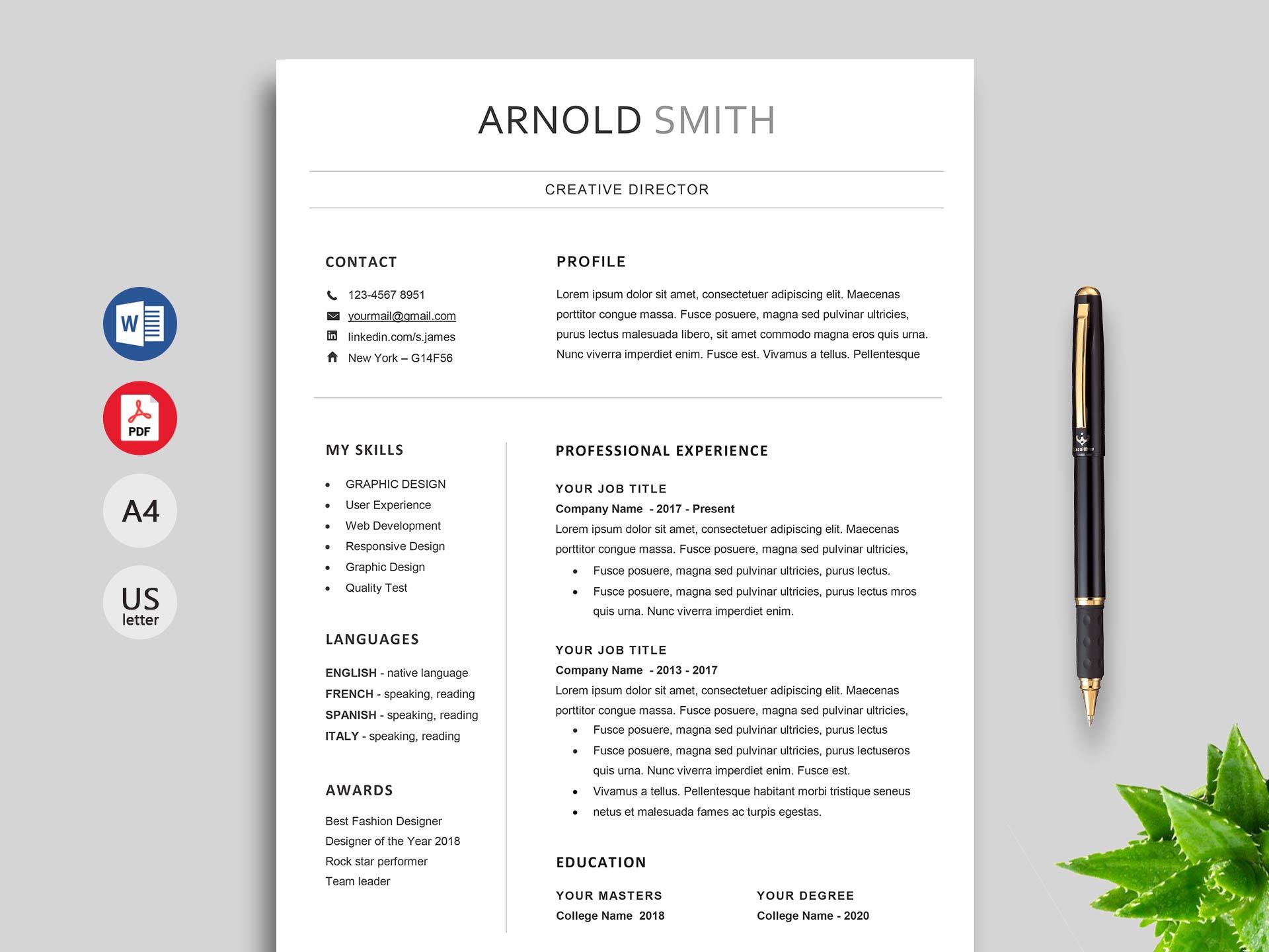 Marvell Simple Resume Template Word Resumekraft