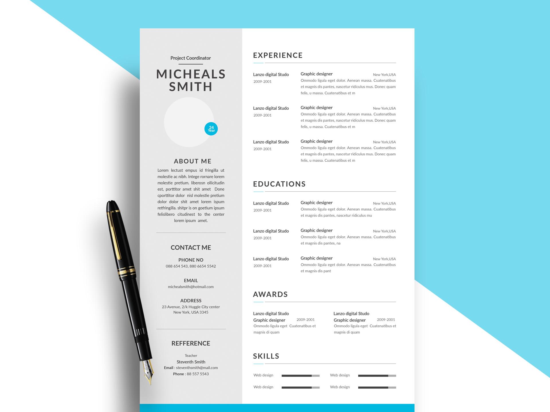 Modern Psd Resume Template Free Resumekraft