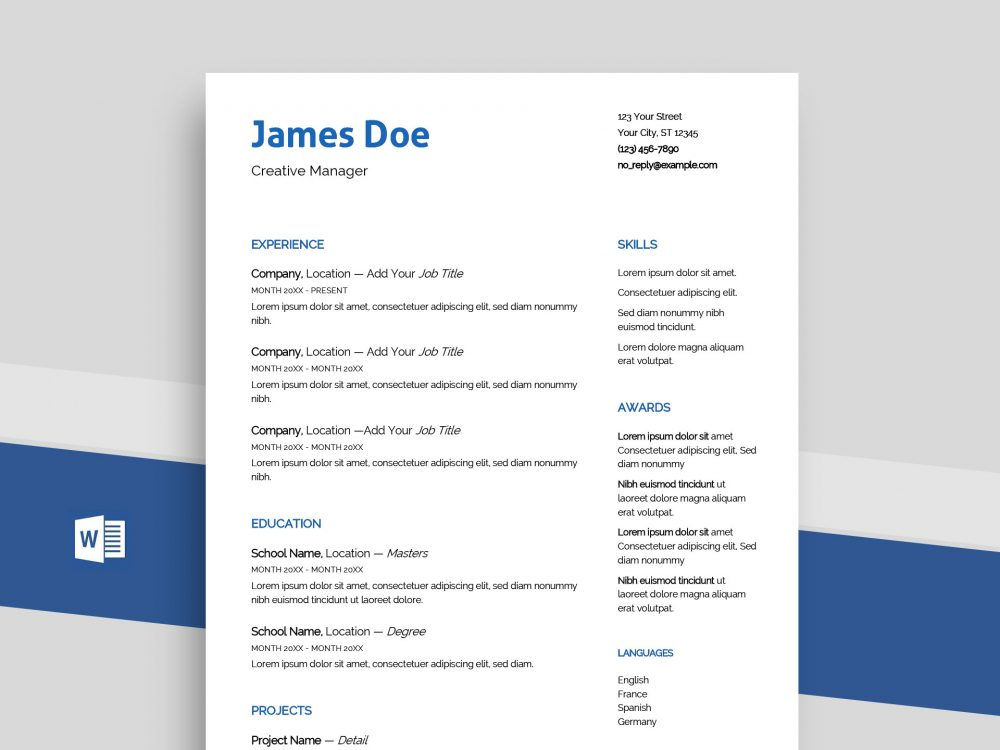 Echo Free Professional Word Resume Template Docx Resumekraft