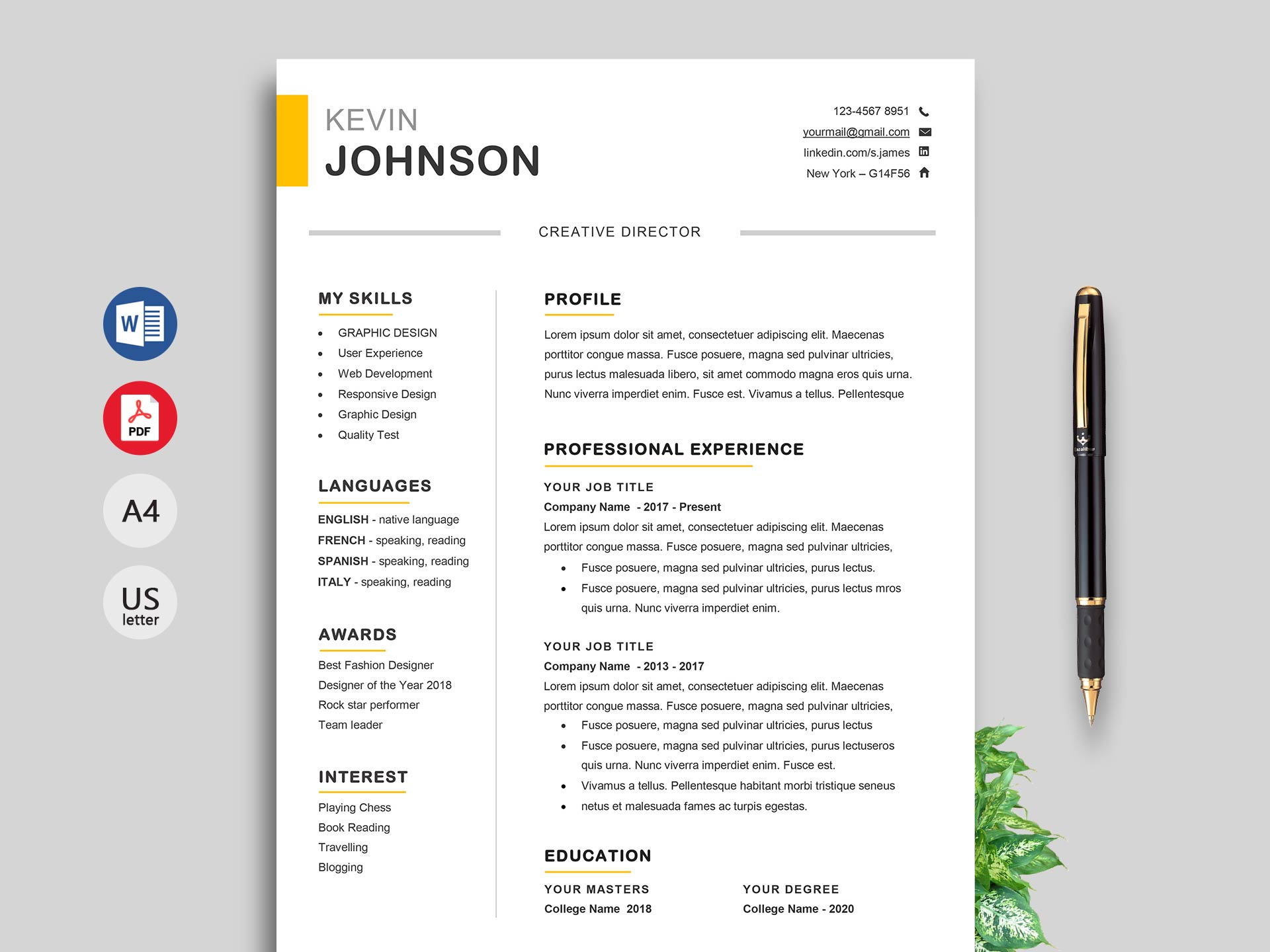 Professional Resume Templates Word | Winner Professional Resume Template Word Resumekraft