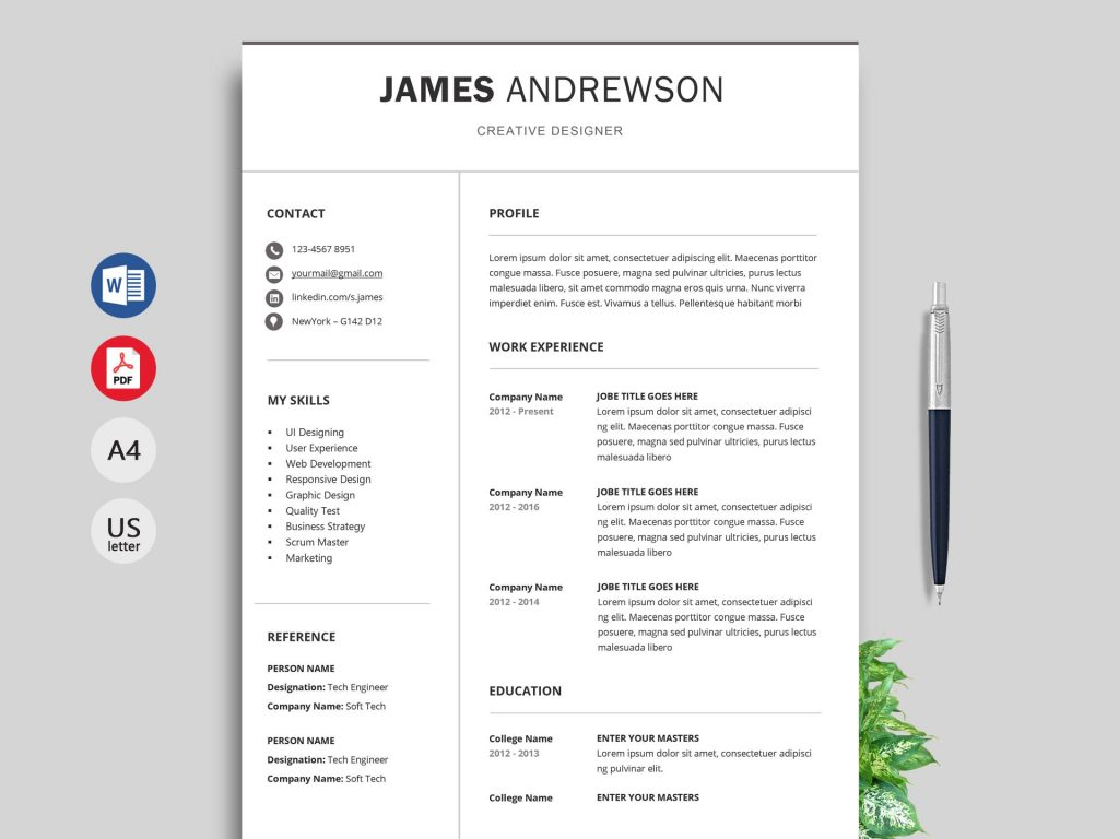 adapt professional resume template