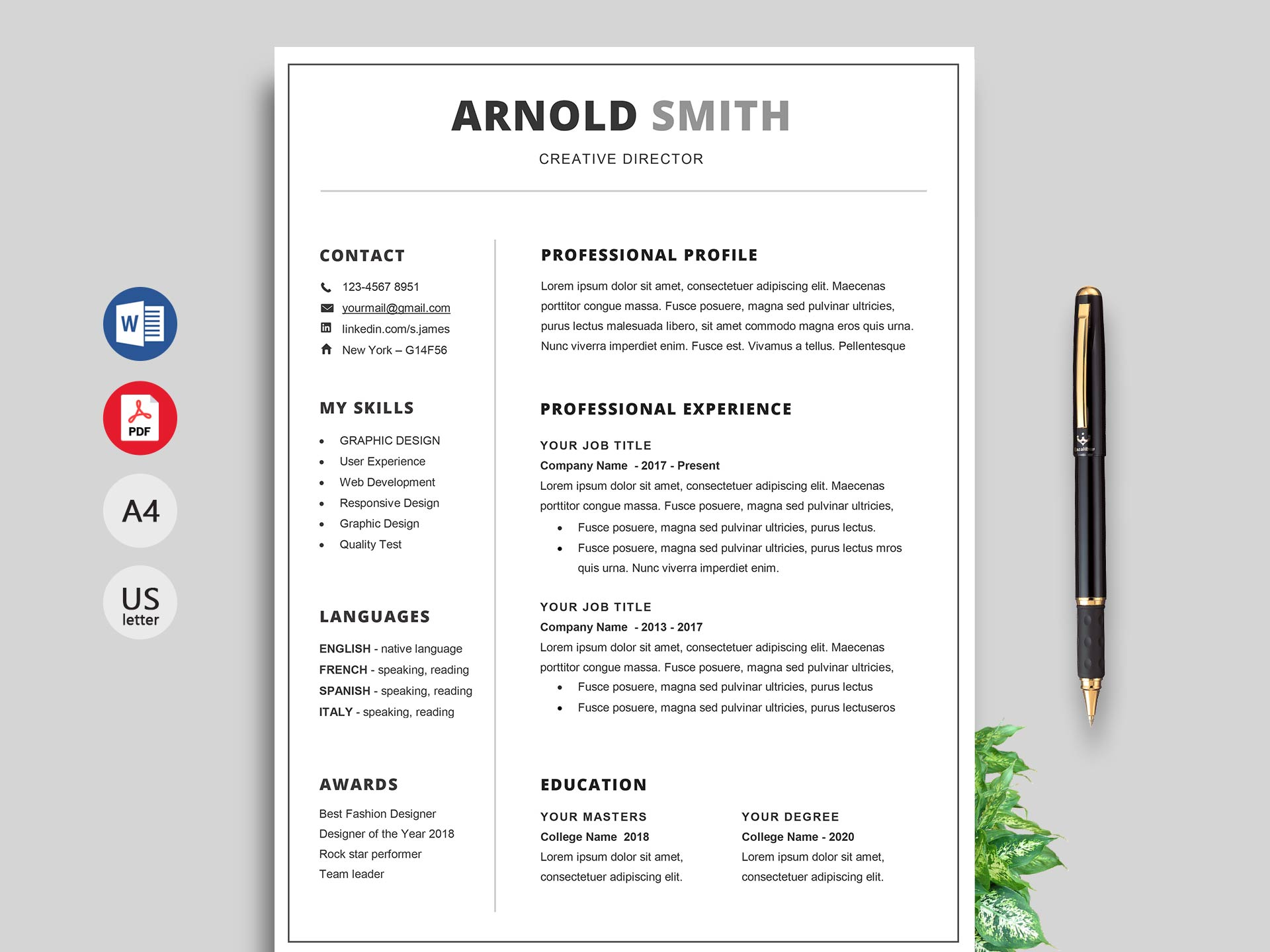 Free Simple Resume Cv Templates Word Format 2019 Resumekraft