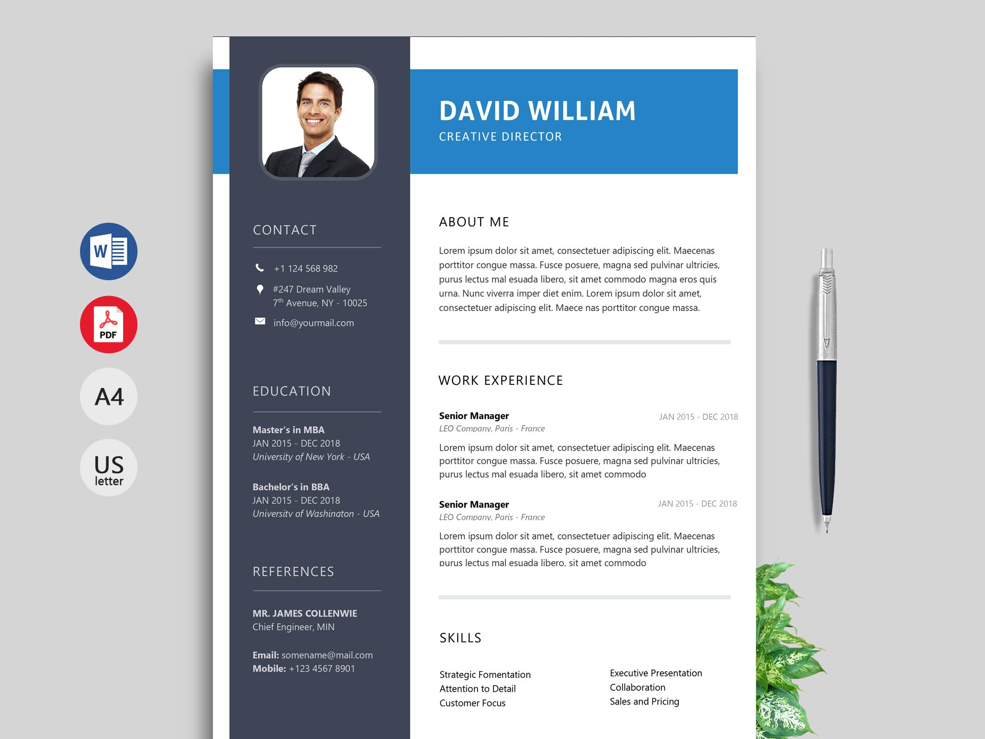 rush modern resume template  ms word format